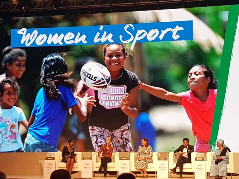 Debate on women in sport moderated by Evely Watta,